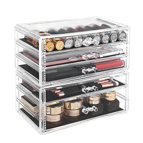 SONGMICS Organizador de Maquillaje Apilable, 2 Cajas de Cosméticos con 5 Cajones para Joyas y Maquillaje, Transparente JMU32TP