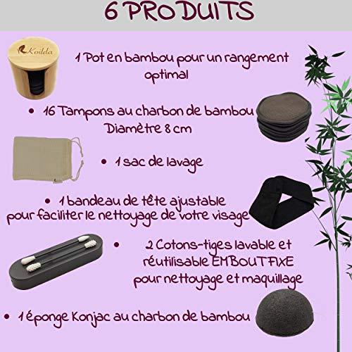 KOILDA Set de Desmaquillaje ,16 Discos Desmaquillantes Reutilizables y Lavables de carbón de bambú ,1 tarro de bambú,1 red para lavar,1 esponja konjac,1 cinta para el pelo,2 bastoncillos de algodón