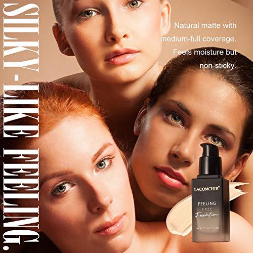 Lacomchir Feeling Free Base de Maquillaje Cover Total 24H Larga Duración Mate Base Maquillaje Cobertura Total Líquida - Impermeable y Reduce Las Arrugas - 33 ml - Vegano   Libre de Crueldad - LIGHT