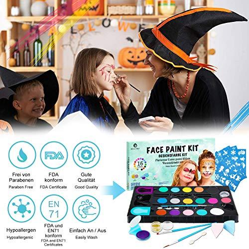 NOWKIN Make Up Carnival Face - Maquillaje de colores para Halloween, Pascua, Fiesta temática, Navidad - Pintura de 16 colores, 2 purpurina, 3 pinceles, 2 pinceles de sombra de ojos, 2 esponjas