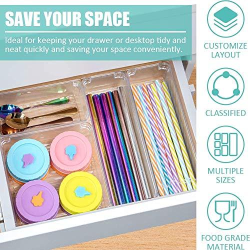 Queta 10 Cajas Organizador de Cajón Plástico, Organizadores Transparentes para Cajones, Bandejas de Maquillaje Papelería Cubiertos para Baño Oficina Escritorio, Organizadores para Maquillaje 10pcs