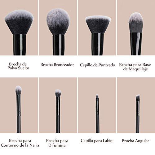 Anjou Brochas Maquillaje Profesional 8 Piezas, Set Brochas de Maquillaje 100% Libre de Crueldad y Vegano con Cerdas Sintéticas Suaves de Alta Calidad Bolso Cosmético Impermeable - Negro