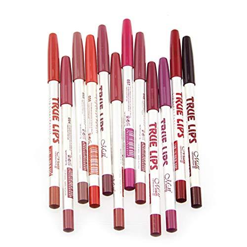 CINEEN 12 Colores Mezclado Impermeable Lápiz Delineador de Labios de Profesional Lápiz Labial Maquillaje Lipliner Pencil Set Con Tapa
