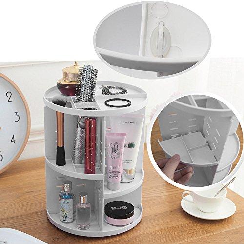 ATPWONZ Maquillaje Organizador de 360 Grados Rotatorio Bandeja de cosméticos Caja de Almacenamiento Multifuncional 8 Capas para Maquillaje y Accesorios (Blanco)