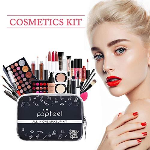 N/Q Juego de Maquillaje con Sombras de Ojos, lápiz Labial, Corrector, Kit de cosméticos para Mujeres y niñas