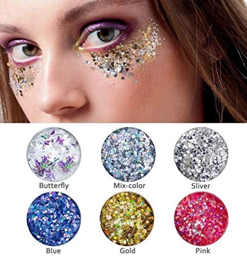 Chunky Purpurina Cara y Cuerpo Maquillaje Glitter Paillette Brillante Decoración Para Pelo y Uñas (6 Piezas)