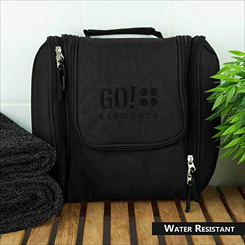 GO!elements® Bolsa de Aseo para Colgar Hombres y Mujeres   Neceser cosmético Hombre Grande Mujer para Maletas y Equipaje de Mano   Neceser de Viaje, Color:Negro