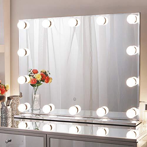 Chende Hollywood Espejo con luz, Espejo de Maquillaje con iluminación, tamaño Grande para Montaje en Pared, iluminación Profesional, Espejo cosmético con 3 Cambios de Color para tocador (80 x 60 cm)