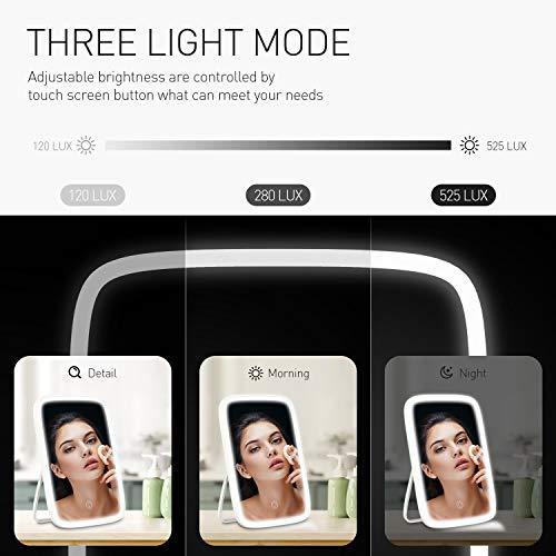 Espejo de Maquillaje con LED, Espejo Maquillaje con Luz, Natural Iluminado Espejo de Mesa Luz, Espejo Cosmético Pantalla Táctil de Mesa Mano Espejo Tocador para Mesa, Dormitorio, Baño, viajes, Belleza