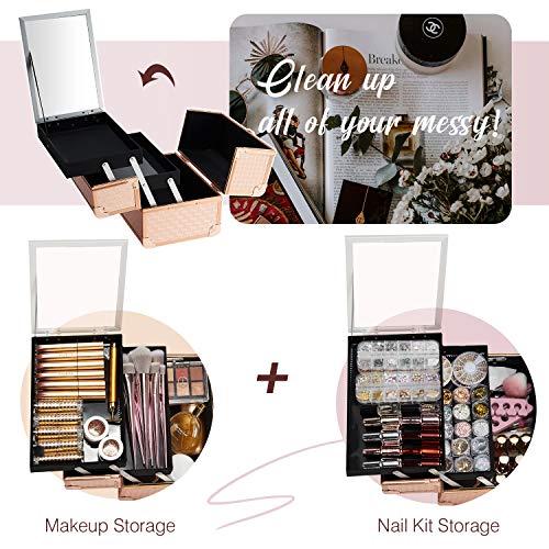 Maletín Maquillaje Estuche de Maquillaje Maletín de Joyero y Manicura Caja Maquillaje Cosméticos Organizador con Espejo Profesional Vacío Beauty Case de Viaje Regalos para Mujeres 24x17x19cm, Oro Rosa