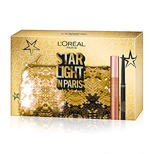 L'Oréal Paris MakeUp - Estuche de regalo para mujer, máscara de volumen paradise, eyeliner Super Mat-Matic, color negro
