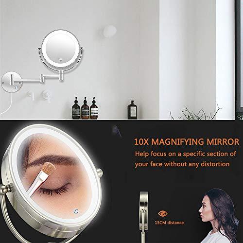 AUPERTO Espejo de Maquillaje con iluminación LED de Autoto, 10 aumentos, con botón táctil, luz Ajustable, Montaje en Pared, Giro Horizontal de 360°, 7 Pulgadas