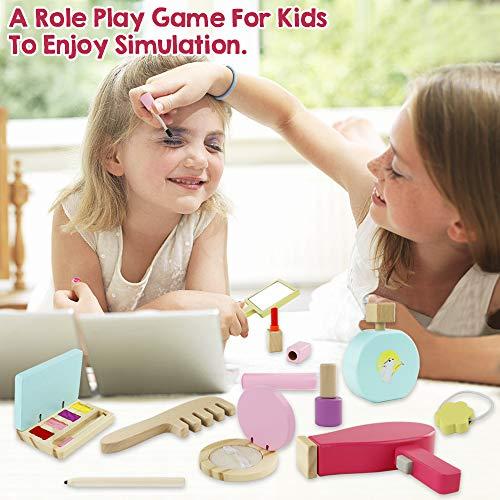 Symiu Maquillaje de Madera Cosméticos Herramientas Kit con 16 Piezas de Belleza Maquillaje Niña Set Juego de Imaginación Juguetes para Regalos para Niños 3 4 5 Años