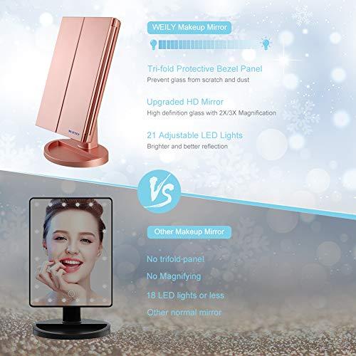 Espejo Maquillaje, WEILY Espejo Cosmético,Luz ajustable con LED, con la ampliación 1X/2X/3X, Rotación ajustable de 180 °, fuente de alimentación doble, espejo cosmético encimera (Oro rosa)