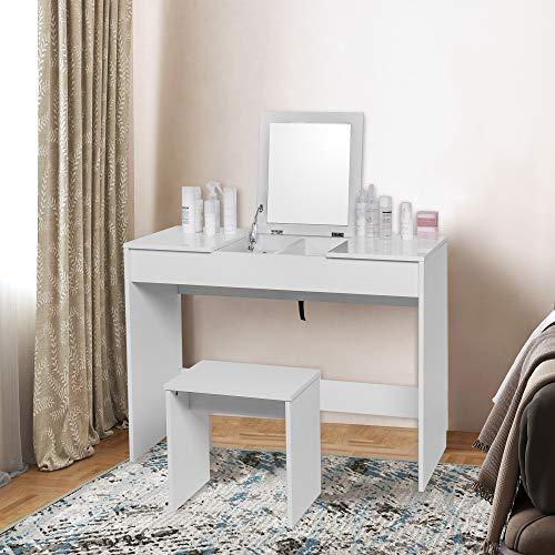 WOLTU Tocador de Maquillaje Tocador Mesa Cosmética con Taburete Tocador de Maquillaje con Espejo Plegable 100 X 45 X 76cm Blanco MB6047ws