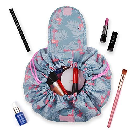 Portátil Lazy Drawstring Bolsa de Maquillaje de Viaje Bolsa de cosméticos Organizador de artículos de tocador Impermeable Grande para Mujeres y niñas