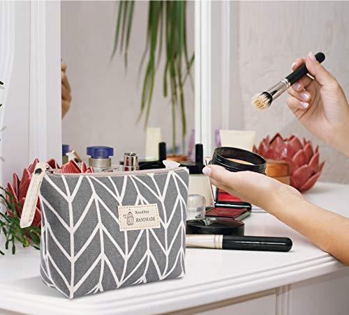 Bolsas de Maquillaje de Lona Neceser de Cosméticos Impresa Bolsa Organizadora de Viaje de Multifunción con Cremallera Bolsa de Lavado Bolsa de Almacenamiento para Mujer 4 Piezas (4 Estilo)