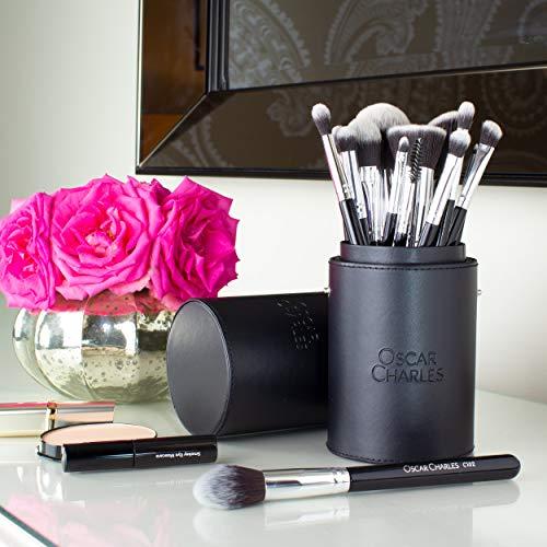 Oscar Charles Juego de brochas de maquillaje profesional con mezclador de belleza y limpiador en elegante estuche de brochas, presentado en una hermosa caja de regalo [15 piezas] [plata]