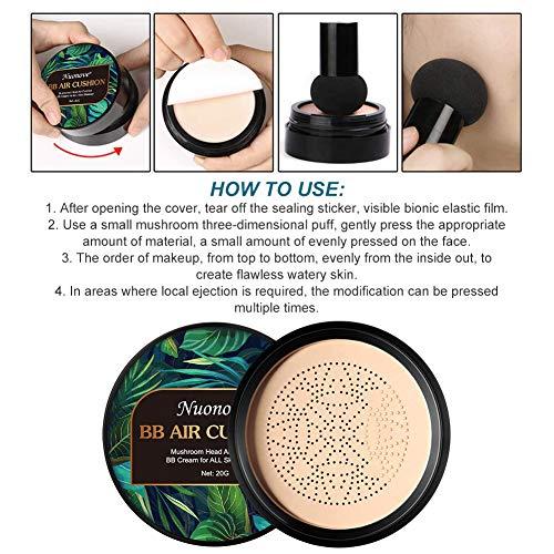 BB Cream, CC Creme, Líquida Fundación, Mushroom Head Air Cushion BB Cream, Ocultador, Base de Maquillaje, Maquillaje de Larga Duración, Hidratante Corrector Permeable al aire Brillo natural