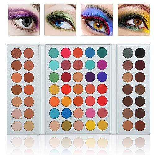 Pannow Paleta de sombra de ojos 63 colores (mate + brillo) Maquillaje altamente pigmentado a prueba de agua Sombras de ojos Cosmético
