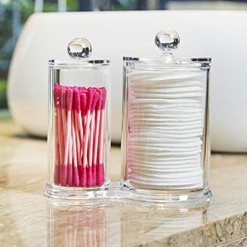 PuTwo Acrílico Almacenaje Algodón Transparente Caja de Bastoncillos algodonero con tapa Algodonero Organizador de Maquillaje Redondo Organizador de Baño y Tocador para Bolas de Algodón y Bastoncillos