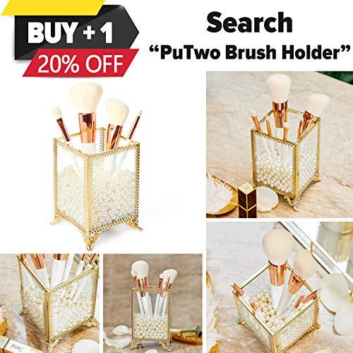 PuTwo Organizador de Maquillaje Vidrio 5 Compartimentos Organizador de Cosméticos Grande Caja Maquillaje Cobre Organizador de Brochas Maquillaje Vintage para Baño Tocador - Oro