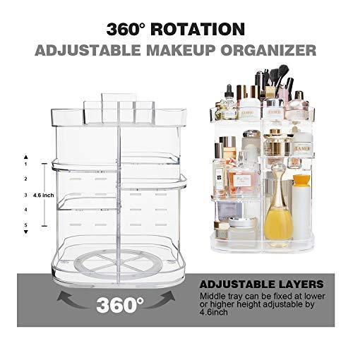 Organizador de Maquillaje, Estante de Almacenamiento Giratorio Ajustable con 360 Carrusel de Almacenamiento de Cosméticos con Capacidad de 5 Capas, Ideal para Tocador de Encimera, Cuadrado
