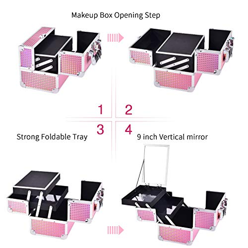 Maletin Maquillaje Profesional Estuche Maquillaje Caja Maquillaje Maletin de Manicura Maletin con Espejo Joyero Cosméticos Organizador de viaje Mujer Rosa