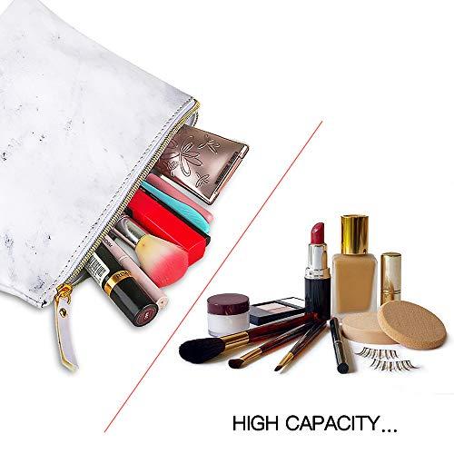 BOJLY Bolsa de Maquillaje de Mármol, Bolsa de Aseo Neceser de Viaje para Hombres y Mujeres, Bolso Cosmético de Cuero de PU Plegable Impermeable Multifuncional