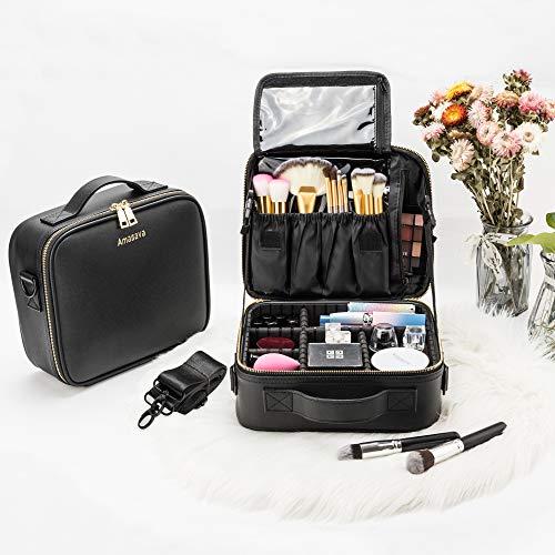 Amasava Profesional Bolsa Maquillaje Cosmético Organizador Neceser Viaje Maquillaje Estuche Viaje con Brochas Compartimento Negro