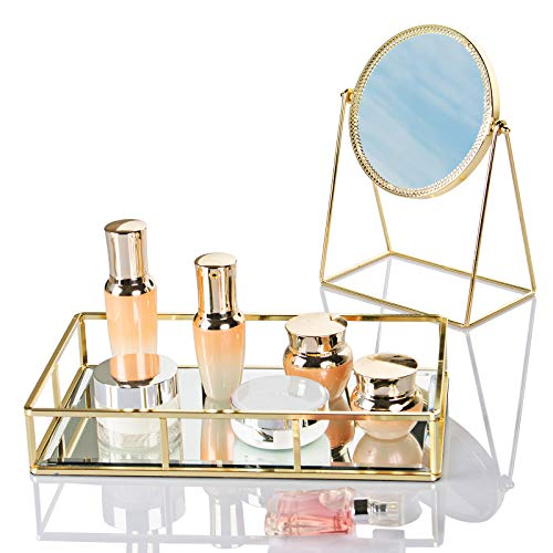 Dawoo Espejo De Tocador De Maquillaje Dorado Espejo para Salón De Belleza De Dormitorio