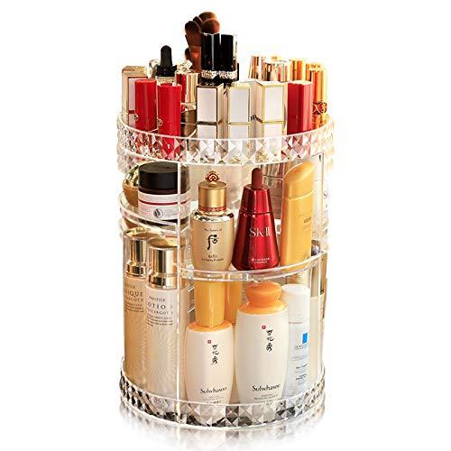 Subsky Organizador del Maquillaje, 360 Grados Que Giran la Joyería Ajustable y el Soporte de Exhibición Cosmético, 8 Capas Componen la Caja de Almacenaje - Claro Cristalino