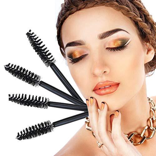 Lurrose 50pcs pinceles de rimel desechables aplicador de maquillaje de varillas de pestañas pincel (negro)
