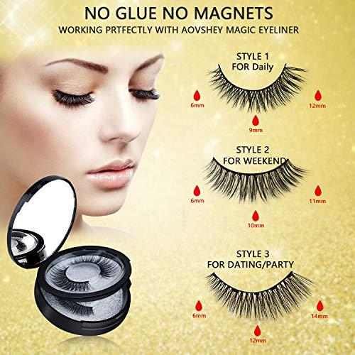 AOVSHEY Pestañas Magneticas Delineador 5 pares de ojos magnético magnéticas con delineador de ojos magnético resistente al agua de larga duración Pestañas magnéticas falsas reutilizables
