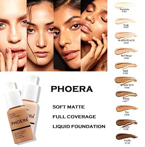 PHOERA 30ml Bases de maquillaje Correctores Concealer Foundation (Nude #102)(Buff Beige #104) con 2 piezas Makeup Face Primer