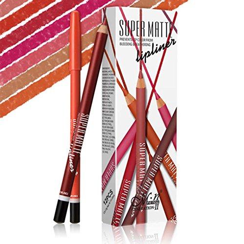 LUFA Menow 12 colores a prueba de agua Lipliner larga duración Mate Delineador de ojos sombra de ojos Lápiz de labios Lápiz de maquillaje cosméticos fijaron