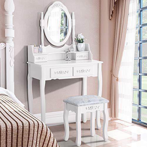 Uenjoy - Tocador de maquillaje con taburete y espejo ovalado (cajones), color blanco, blanco, 4 Tiroirs