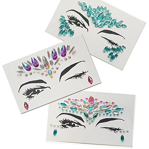 Amaza Face Gems Stickers, Tatuajes Temporales Pegatinas, Efecto Glitter, Fiestas, Espectáculos y Maquillaje (9 Piezas)