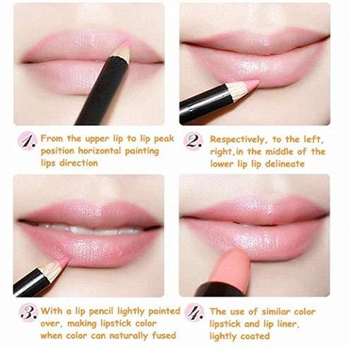 JBNS 12pcs Profesional Lipliner Impermeable Lápiz Delineador De Labios De Larga Duración Conjunto De Maquillaje De Labios Cosméticos Set De Regalo para Mujeres Niñas