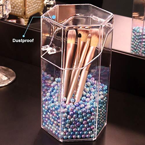 Beautypical - Soporte para pinceles de maquillaje con perlas de regalo, resistente al polvo, organizador de pinceles, forma hexagonal, para proteger las brochas y pinceles (tamaño grande)