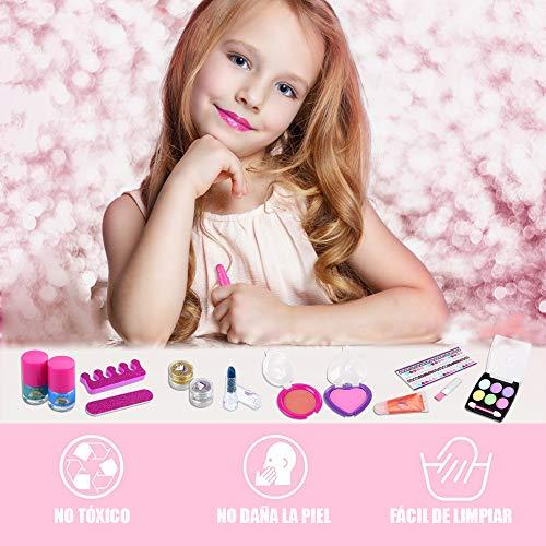 Anpro 15pcs Kit de Maquillaje Niñas,Juguetes para Chicas, Cosméticos Lavables, Regalo de Princesa para Niñas en Fiesta,Cumpleaños,Navidad