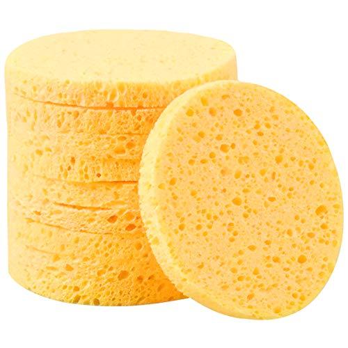 10 Piezas Facial Limpieza Esponja, 8cm Cosmético Desmaquillante Belleza Esponja, Esponjas Faciales de Celulosa, Cara Lavado Maquillaje Removedor Esponja Almohadilla(Redondo, Amarillo)