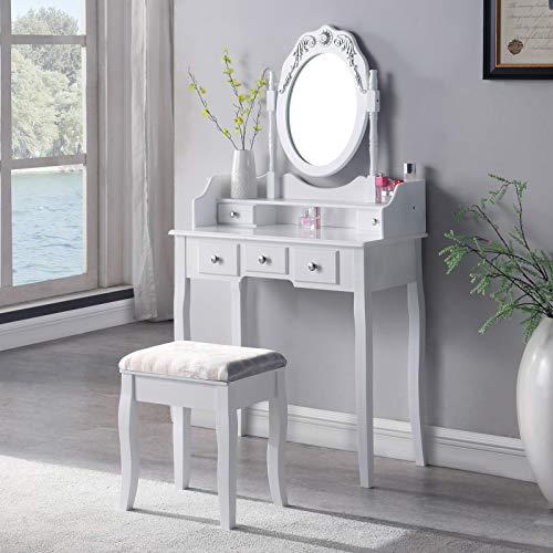 SALBAY Tocador con taburete, juego de 1 espejo, 5 cajones, escritorio de maquillaje, color blanco