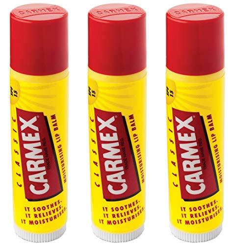 Carmex Bálsamo labial clásico en barra (LSF 15), 3 unidades (3 x 4 g)