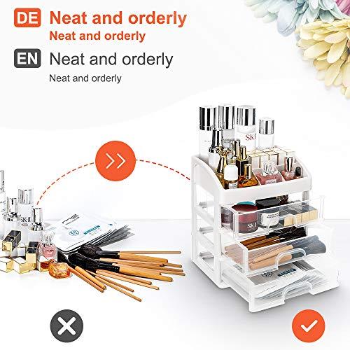 Seelux Organizador de Maquillaje, Cajas para Cosméticos de Transparentes Organizador Guardar Espacio De Escritorio Maquillaje Cajón De Almacenamiento de Tipo Caja