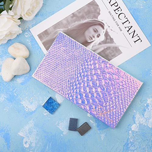 Allwon Magnetic Palette Mermaid Paleta de maquillaje vacía con espejo y 20 piezas Adhesiva Paleta vacía Pegatinas de metal para sombra de ojos Lápiz labial Rubor en polvo