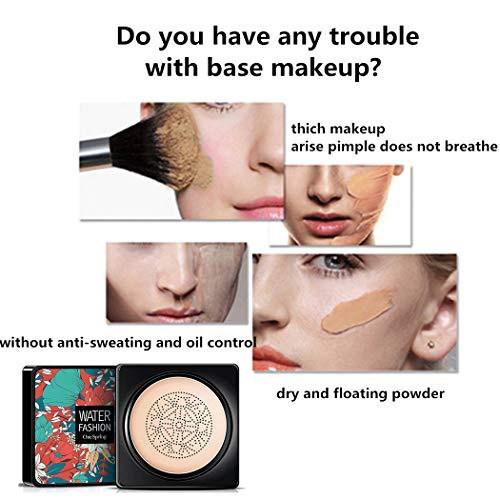 CC crema corrector base duradera hidratación brillo color Reparación maquillaje base, CC crema hidratante impermeable base líquida (tipo hongo) puff) (Tono de piel natural)