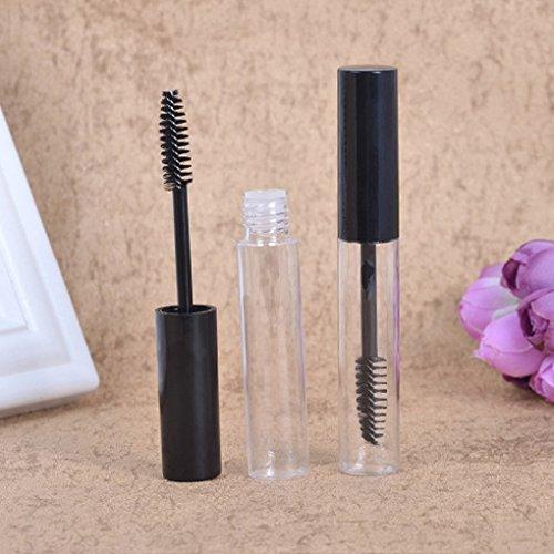 Fornateu Cap Negro 10ml del rimel Tubo vacío Botella Vial Tubo Transparente de pestañas Maquillaje de Ojos Crema Embudo de dispensación de pipetas de contenedores