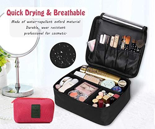 DIMJ Neceser Maquillaje, Bolsa de Maquillaje Ligera con Divisores Bolsillos Profesional Organizador de Maquillaje Bolso de Cosméticos de Viaje con Bolsa de Cable USB (Negro)