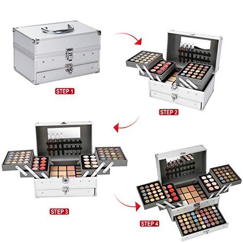 Pure Vie® 132 Colores Sombra De Ojos Corrector Rubor y Brillo de Labios Paleta de Maquillaje Cosmética - Perfecto para Sso Profesional y Diario